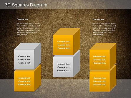 3D Squares Diagram, Slide 16, 01189, Shapes — PoweredTemplate.com