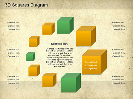 3D Squares Diagram, Slide 2, 01189, Shapes — PoweredTemplate.com