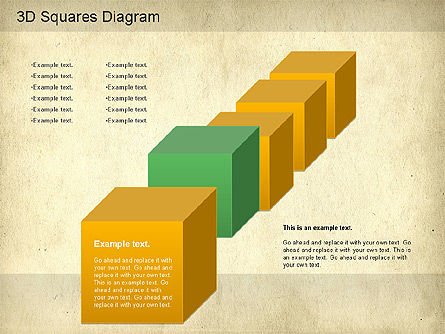 3D Squares Diagram, Slide 3, 01189, Shapes — PoweredTemplate.com