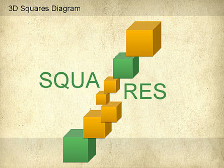 3D Squares Diagram, Slide 4, 01189, Shapes — PoweredTemplate.com