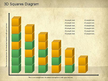 3D Squares Diagram, Slide 6, 01189, Shapes — PoweredTemplate.com