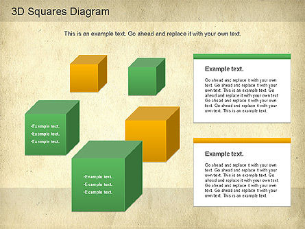 3D Squares Diagram, Slide 8, 01189, Shapes — PoweredTemplate.com