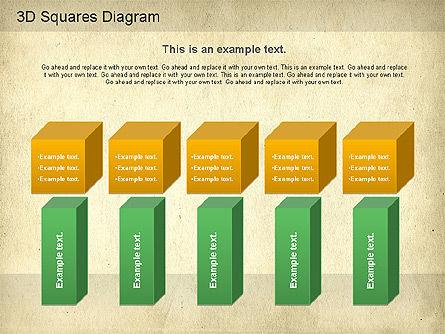 3D Squares Diagram, Slide 9, 01189, Shapes — PoweredTemplate.com