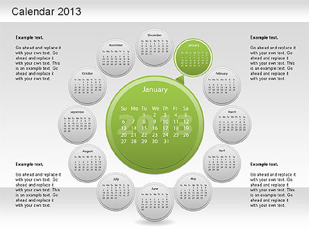 2013 PowerPoint Calendar, Slide 2, 01207, Timelines & Calendars — PoweredTemplate.com