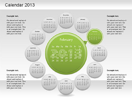 2013 PowerPoint Calendar, Slide 3, 01207, Timelines & Calendars — PoweredTemplate.com