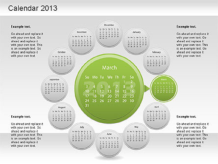 2013 PowerPoint Calendar, Slide 4, 01207, Timelines & Calendars — PoweredTemplate.com