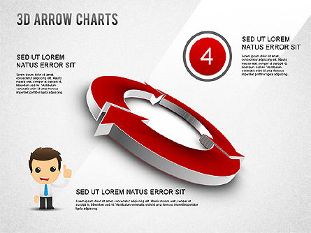 3D Donut Arrow Chart, Slide 4, 01226, Process Diagrams — PoweredTemplate.com