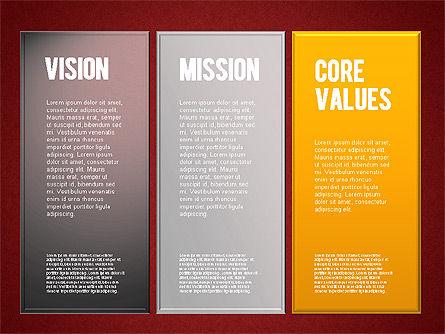 Mission, Vision and Core Values Diagram, Slide 11, 01242, Business Models — PoweredTemplate.com