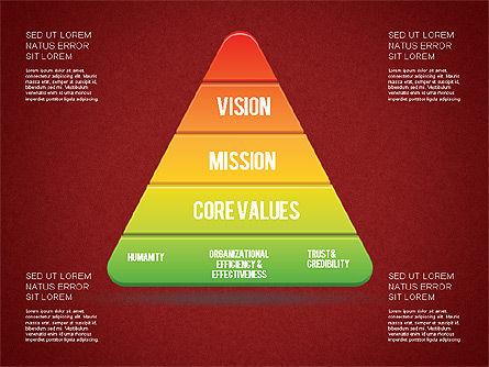 Mission, Vision and Core Values Diagram, Slide 14, 01242, Business Models — PoweredTemplate.com