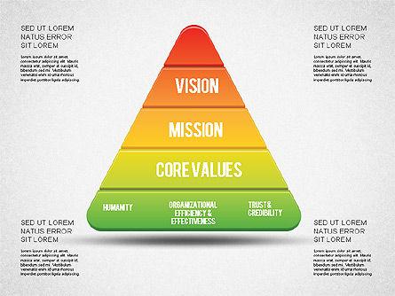 Mission, Vision and Core Values Diagram, Slide 6, 01242, Business Models — PoweredTemplate.com