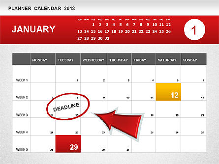 Planner Calendar 2013, 01247, Timelines & Calendars — PoweredTemplate.com