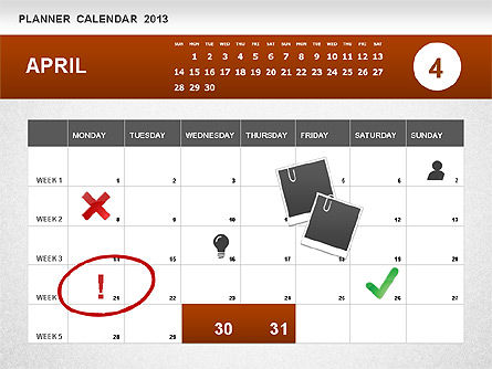 Planner Calendar 2013, Slide 4, 01247, Timelines & Calendars — PoweredTemplate.com