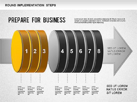 Implementation Steps Diagram, Slide 4, 01248, Stage Diagrams — PoweredTemplate.com