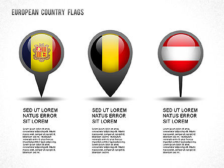 European Countries Flags, Slide 2, 01250, Shapes — PoweredTemplate.com
