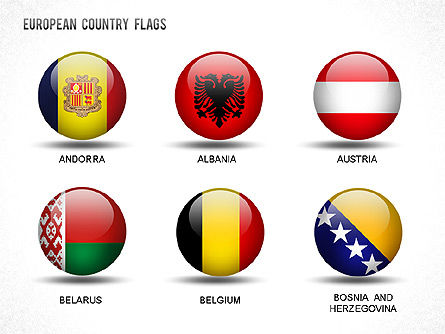 European Countries Flags, Slide 3, 01250, Shapes — PoweredTemplate.com