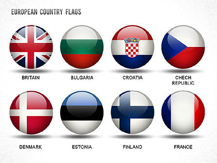 European Countries Flags, Slide 4, 01250, Shapes — PoweredTemplate.com