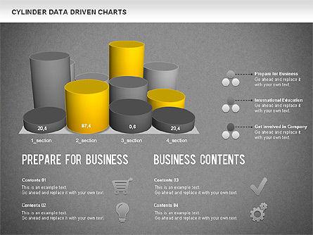 Cylinder Bar Chart, Slide 14, 01251, Graph Charts — PoweredTemplate.com