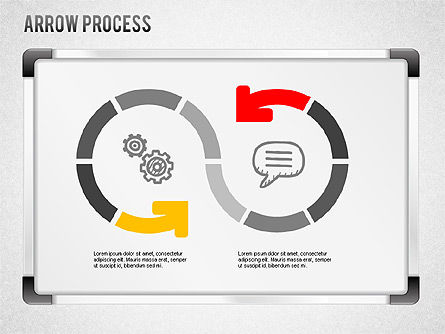 Process Diagrams: Arrow processchema met pictogrammen #01255