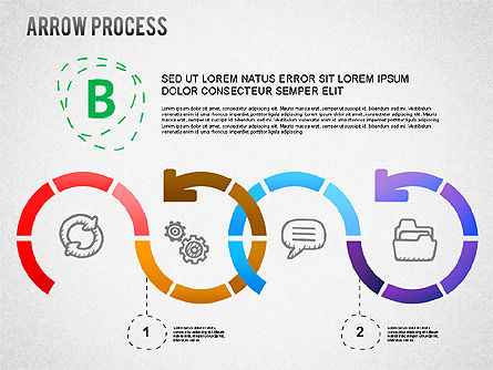 Arrow Process Diagram with Icons, Slide 3, 01255, Process Diagrams — PoweredTemplate.com