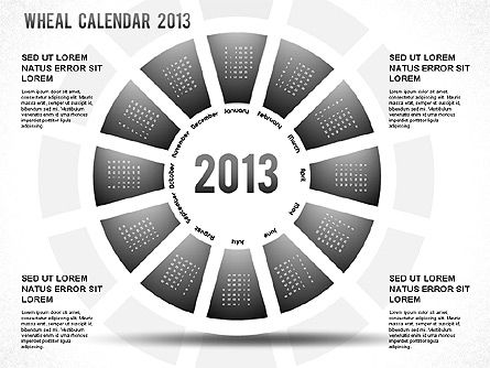 2013 PowerPoint Wheel Calendar, 01258, Timelines & Calendars — PoweredTemplate.com