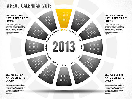 2013 PowerPoint Wheel Calendar, Slide 2, 01258, Timelines & Calendars — PoweredTemplate.com