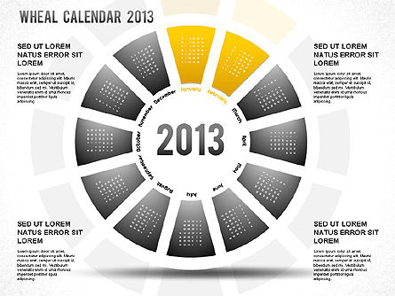 2013 PowerPoint Wheel Calendar, Slide 3, 01258, Timelines & Calendars — PoweredTemplate.com