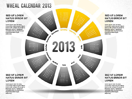 2013 PowerPoint Wheel Calendar, Slide 4, 01258, Timelines & Calendars — PoweredTemplate.com
