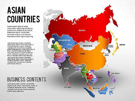 Asian Countries Presentation, 01263, Presentation Templates — PoweredTemplate.com