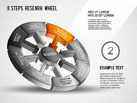 Research Wheel Diagram, Slide 3, 01273, Process Diagrams — PoweredTemplate.com