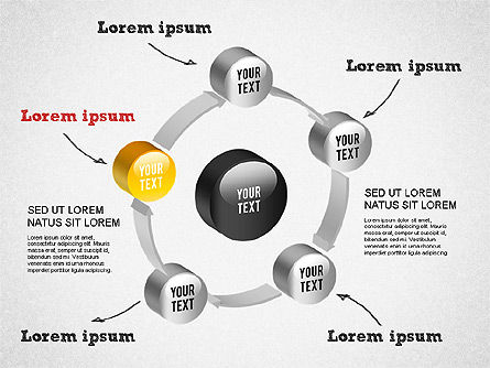 3D Circular Process Diagram, Slide 12, 01300, Process Diagrams — PoweredTemplate.com
