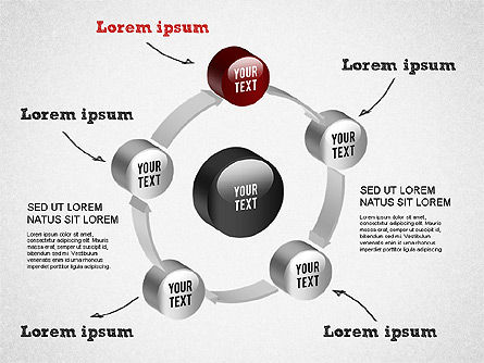 3D Circular Process Diagram, Slide 8, 01300, Process Diagrams — PoweredTemplate.com