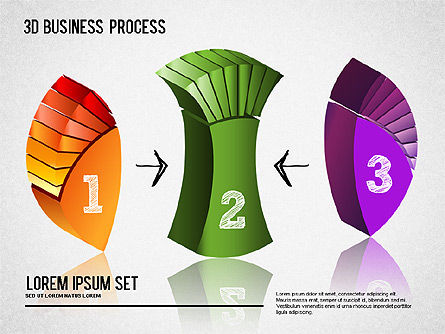 3D Process Shapes, Slide 4, 01336, Process Diagrams — PoweredTemplate.com