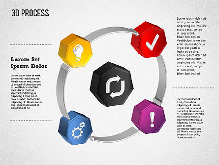 3D Circle Process with Icons, Slide 3, 01374, Process Diagrams — PoweredTemplate.com