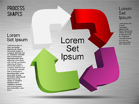 3D Process Shapes Toolbox, Slide 3, 01400, Process Diagrams — PoweredTemplate.com