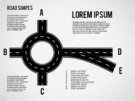 Road Shapes, Slide 3, 01419, Shapes — PoweredTemplate.com