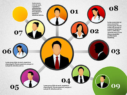Business Network, Slide 10, 01447, Organizational Charts — PoweredTemplate.com