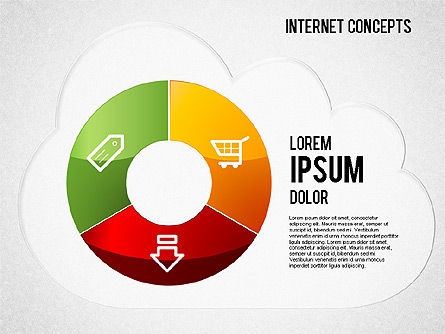 Internet Concepts Diagram, 01469, Pie Charts — PoweredTemplate.com