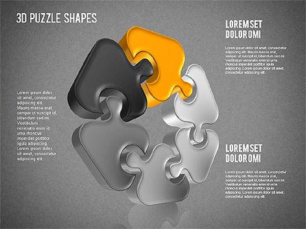 Puzzle Shapes 3D, Slide 10, 01473, Puzzle Diagrams — PoweredTemplate.com