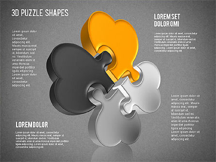 Puzzle Shapes 3D, Slide 12, 01473, Puzzle Diagrams — PoweredTemplate.com