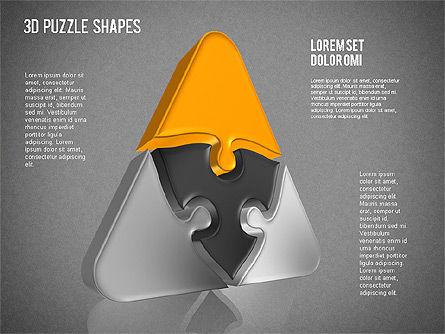 Puzzle Shapes 3D, Slide 14, 01473, Puzzle Diagrams — PoweredTemplate.com