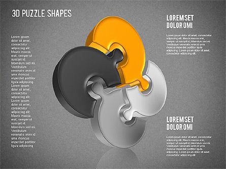 Puzzle Shapes 3D, Slide 16, 01473, Puzzle Diagrams — PoweredTemplate.com