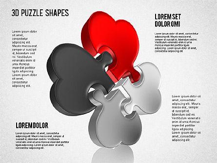 Puzzle Shapes 3D, Slide 4, 01473, Puzzle Diagrams — PoweredTemplate.com