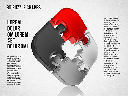 Puzzle Shapes 3D, Slide 7, 01473, Puzzle Diagrams — PoweredTemplate.com