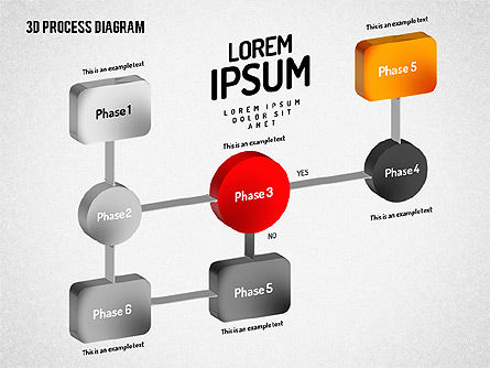 3D Flow Chart, 01511, Process Diagrams — PoweredTemplate.com