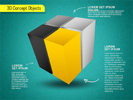 3D Cube Stages Shapes, Slide 12, 01524, Shapes — PoweredTemplate.com