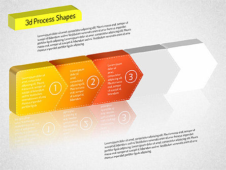 3D Chain Process Arrows Diagram, Slide 11, 01530, Process Diagrams — PoweredTemplate.com