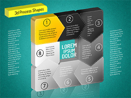 3D Chain Process Arrows Diagram, Slide 14, 01530, Process Diagrams — PoweredTemplate.com