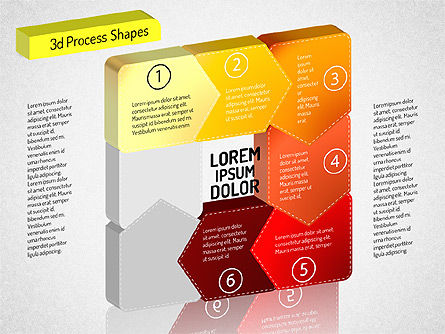 3D Chain Process Arrows Diagram, Slide 6, 01530, Process Diagrams — PoweredTemplate.com