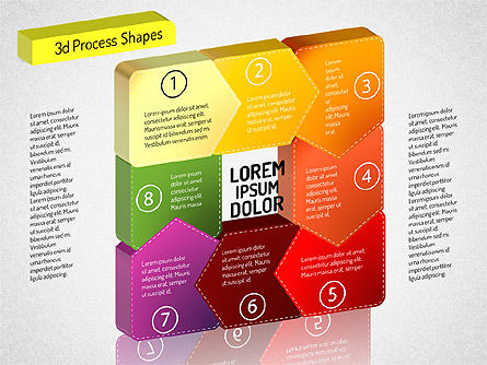 3D Chain Process Arrows Diagram, Slide 8, 01530, Process Diagrams — PoweredTemplate.com