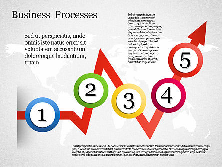 Process Arrow with Numbers, 01578, Process Diagrams — PoweredTemplate.com
